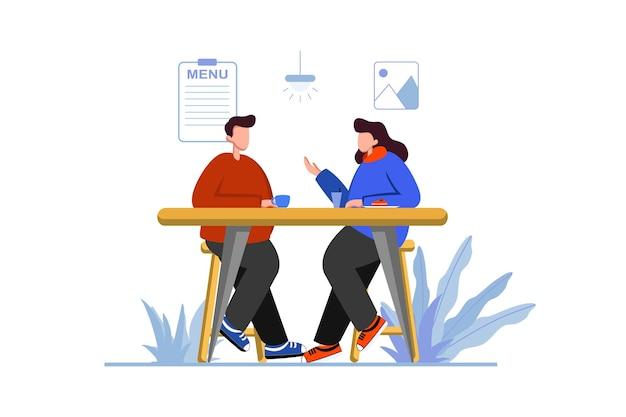 L'uomo e la donna conversano e bevono caffè al bar