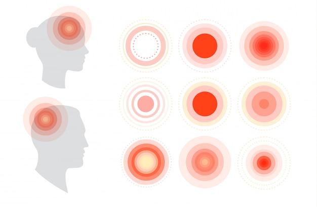 Vista di profilo della testa della donna e dell'uomo con le icone dei cerchi di dolore messe.