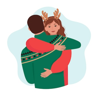 Uomo e donna che abbraccia coppia di innamorati in abbigliamento invernale caldo isolato illustrazione in stile piano