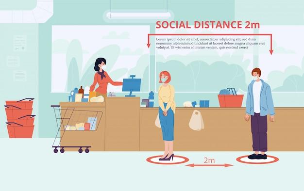 La donna dell'uomo mantiene la distanza sociale a due metri dal negozio
