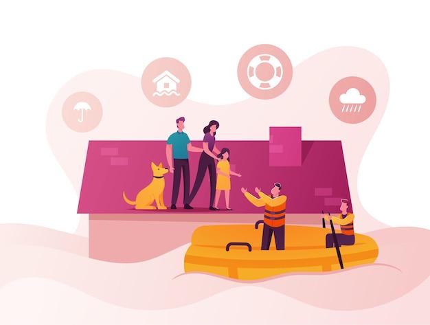Uomo, donna, bambina e cane stanno sul tetto della casa, soccorsi in barca evacuano persone.