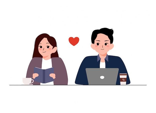 Uomo e donna innamorati all'illustrazione del fumetto del caffè. la femmina ha letto il libro ed il maschio usa un computer portatile Vettore Premium