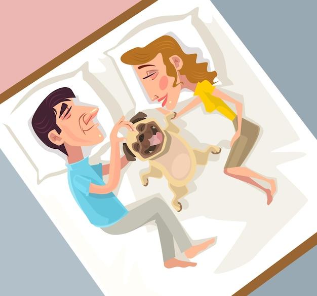 L'uomo e la donna amano l'illustrazione del bambino del cane