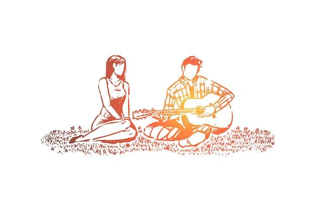 Uomo e donna innamorati, appuntamento romantico nell'illustrazione del parco