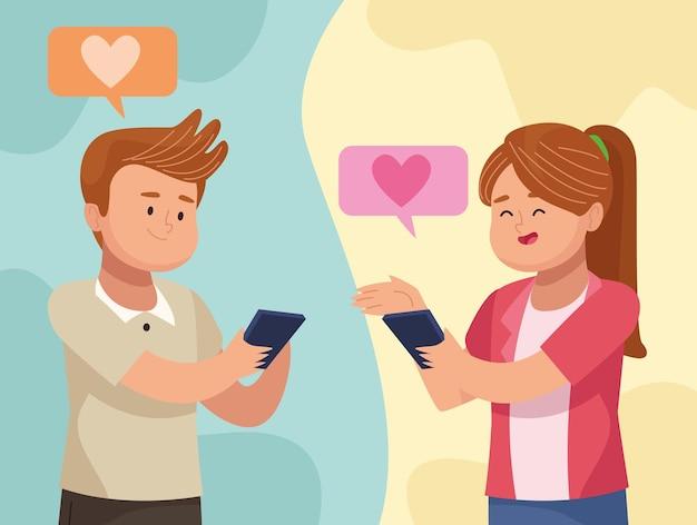 Uomo e donna innamorati del tablet in video chat