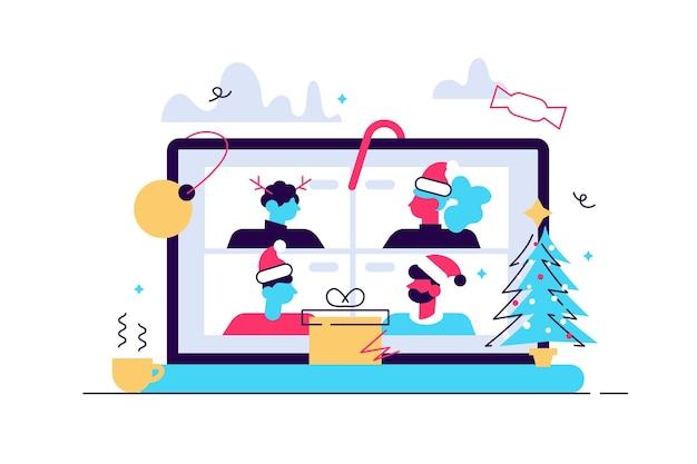 Uomo e donna che si incontrano online insieme tramite videoconferenza su un laptop per una discussione virtuale