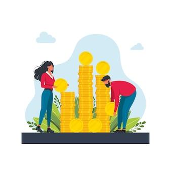 Uomo e donna vicino a pile di monete d'oro. persone che raccolgono e risparmiano il concetto di denaro. le coppie della famiglia portano le monete enormi del dollaro. successo finanziario, risparmio che investe denaro. cartoon piatto illustrazione vettoriale