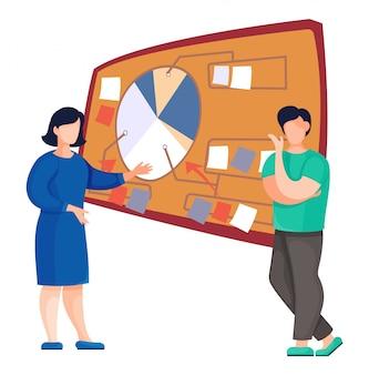 Uomo e donna vicino al compito o al bordo di pianificazione con adesivi, personaggi dei cartoni animati in bianco