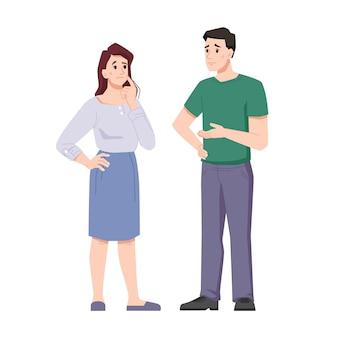 Uomo e donna offesi sconvolti dalla perdita sofferenza emotiva e dolore offesi moglie e marito sposati