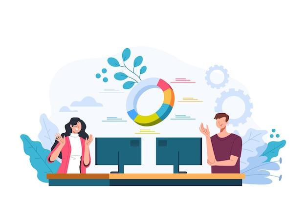 Uomo donna ufficio lavoratori squadra che lavora al concetto di statistica analitica finanziaria aziendale. illustrazione di design grafico piatto vettoriale