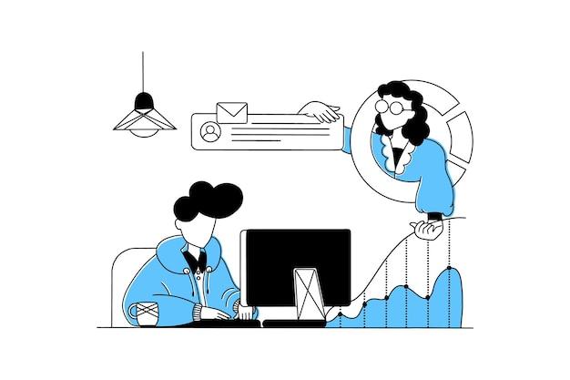 Uomo e donna che lavorano a distanza online da casa