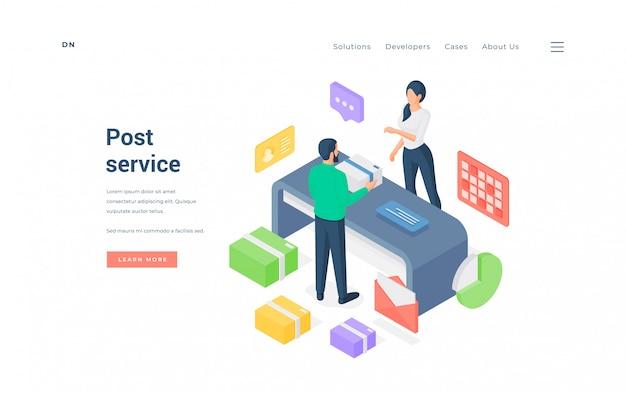 Uomo e donna in ufficio postale. illustrazione