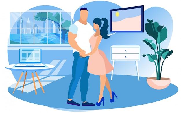 Presentatori della donna e dell'uomo nello studio di televendita Vettore Premium