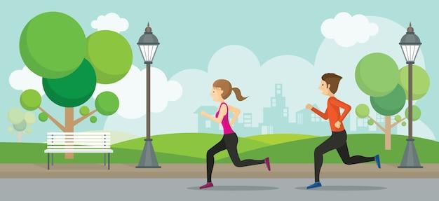 Uomo e donna che corrono nel parco, esercizio, jogging con sfondo di città