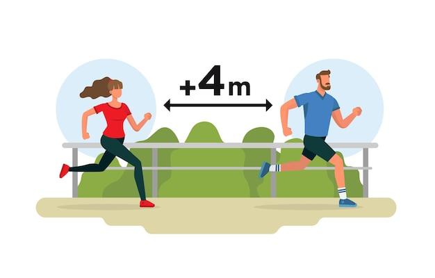Uomo e donna che corrono in un parco rispettando la distanza di sicurezza dal coronavirus