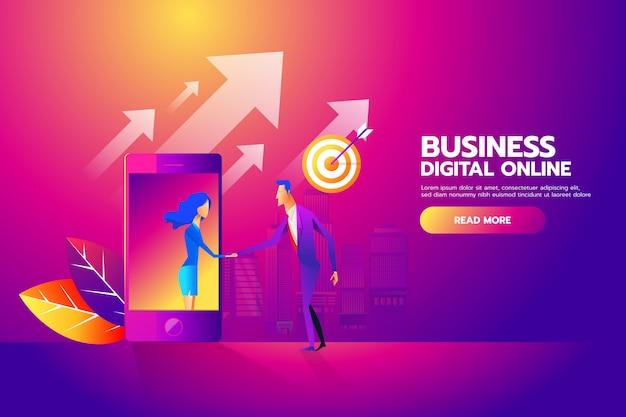 Uomo e donna si stringono la mano attraverso lo schermo mobile per mobile business Vettore Premium