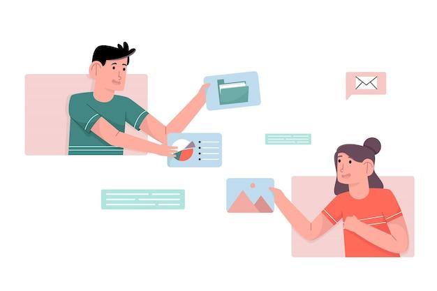 L'uomo e la donna condividono alcuni dati per l'analisi