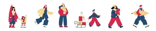 Uomo e donna che acquistano regali che bevono vin brulè che si salutano pattinaggio su ghiaccio portando l'albero di natale