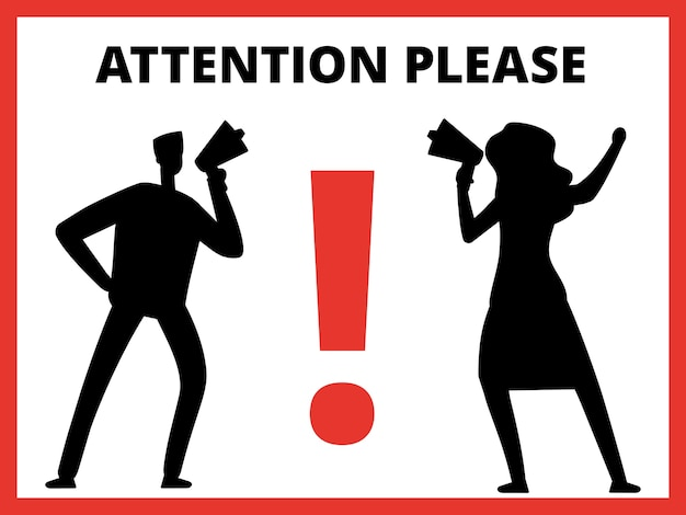 Sagome di uomo e donna con megafono e attenzione messaggio per favore illustrazione
