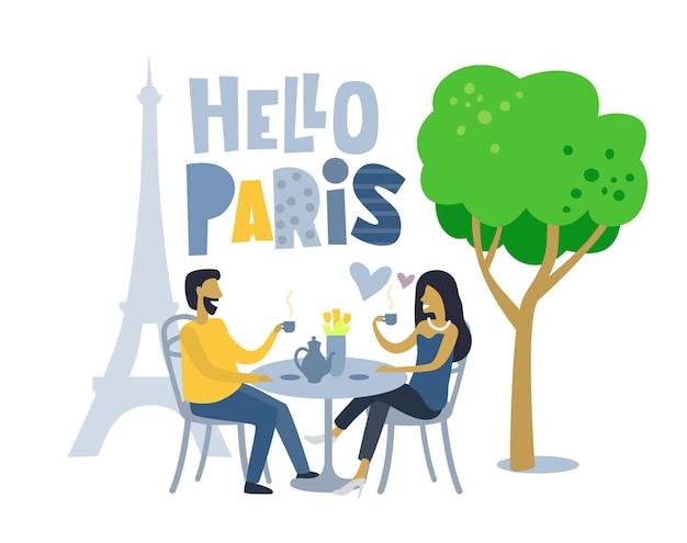 Uomo e donna seduti al caffè paris