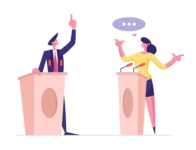 Altoparlanti uomo e donna stanno sulle tribune con i microfoni che parlano con il dito rivolto verso l'alto