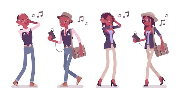 Uomo e donna in piedi ascoltando musica tramite telefono e cuffie
