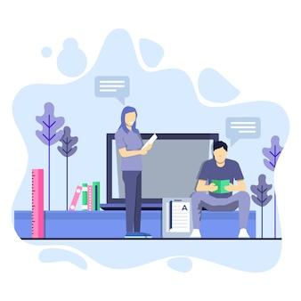 L'uomo e la donna studiano insieme il concetto dell'illustrazione