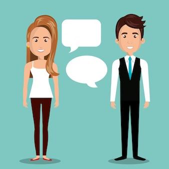 Dialogo della bolla di conversazione della donna dell'uomo isolato