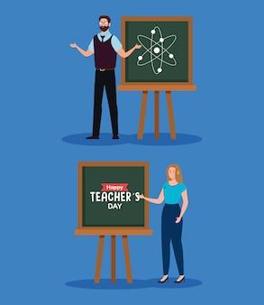 Insegnante uomo e donna con design a bordo verde, celebrazione del giorno degli insegnanti felici e tema educativo