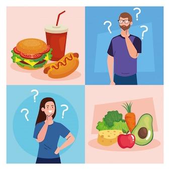 Uomo e donna che pensano che cosa mangiare