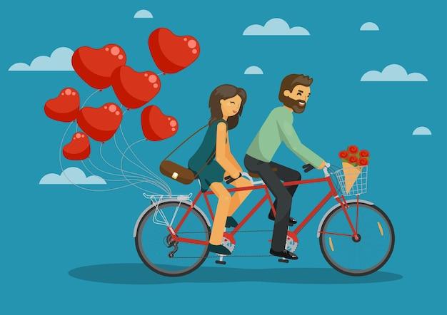 Uomo e donna insieme in sella a una bici in tandem con palloncini cuore nel cielo concetto di amore di coppia felice