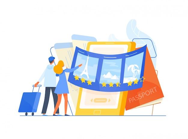Turisti uomo e donna in piedi davanti a uno smartphone gigante e scegliendo la destinazione del viaggio o del viaggio per le loro vacanze, i luoghi da visitare. servizio di viaggio o turistico. illustrazione piatta.