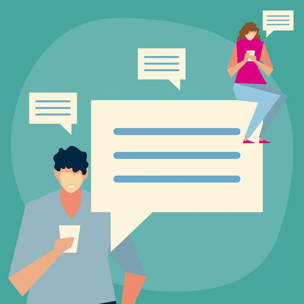 Uomo e donna che utilizzano smartphone che invia messaggio, sms, persone e illustrazione di gadget