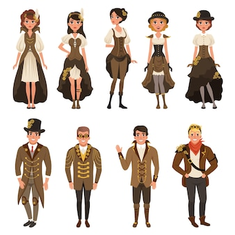 Uomo e donna che indossa il costume di fantasia marrone illustrazioni