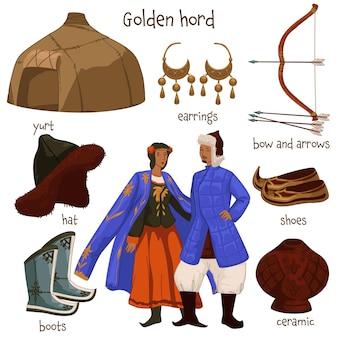 Uomo e donna che indossano abiti e accessori del periodo dell'orda d'oro