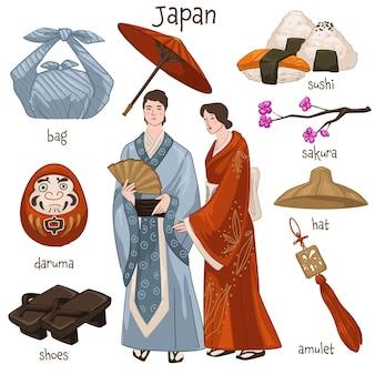 Uomo e donna che indossano abiti tradizionali giapponesi. maschio e femmina che vivono in giappone, abbigliamento kimono. borsa e sushi, albero di sakura e bambola daruma, amuleto e vecchio cappello di paglia. vettore in stile piatto