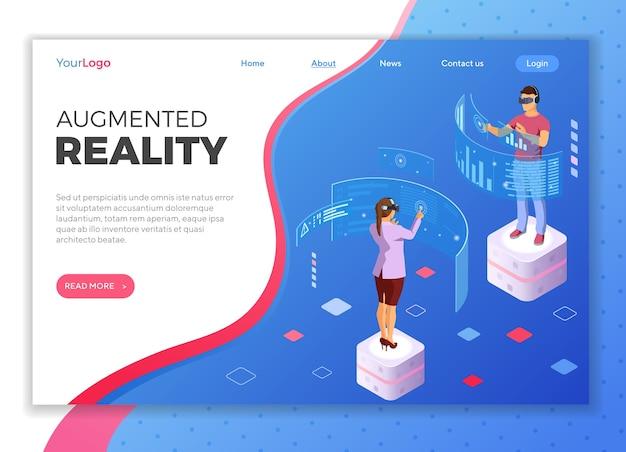 Uomo e donna che indossa occhiali per realtà virtuale con realtà aumentata tocca schermi trasparenti. tecnologia futura isometrica. . modello di pagina di destinazione