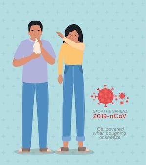 Uomo e donna con il disegno di tosse e starnuti covid 19 virus