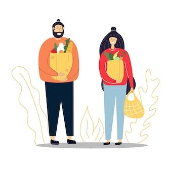 Uomo e donna con i sacchetti della spesa nelle loro mani concetto di acquisto illustrazione piana
