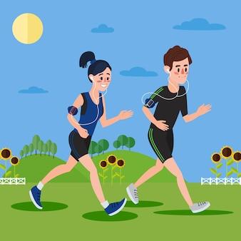 Uomo e donna con le cuffie che corrono sulle colline