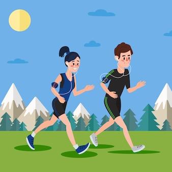 Uomo e donna con le cuffie che corrono nei boschi e nelle montagne