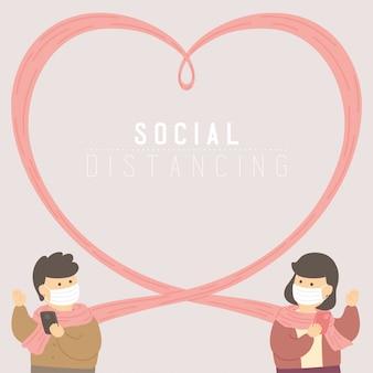 L'uomo e la donna con la sciarpa o le sciarpe della struttura del cuore tengono la distanza all'epidemia di protezione covid-19, al manifesto di concetto di distanza sociale o all'illustrazione sociale di progettazione dell'insegna su fondo, copi lo spazio