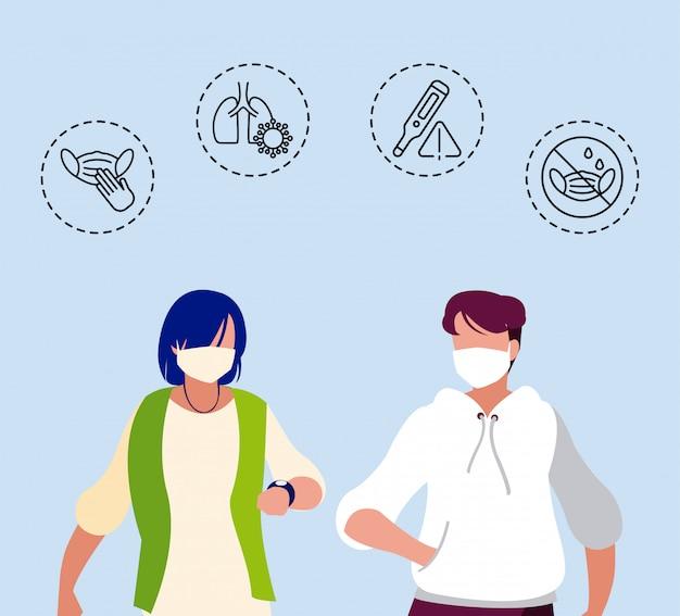 Uomo e donna con icone di protezione e sintomi di coronavirus