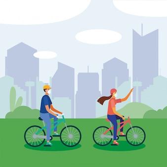 Uomo e donna con mascherina medica sulla bici Vettore Premium