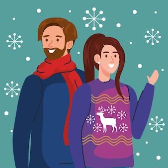 L'uomo e la donna con i maglioni di buon natale progettano, la stagione invernale e l'illustrazione del tema della decorazione