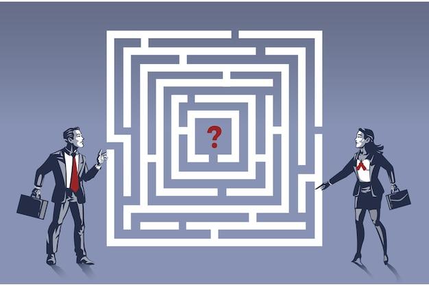 L'uomo e le donne discutono la soluzione per sfuggire al puzzle