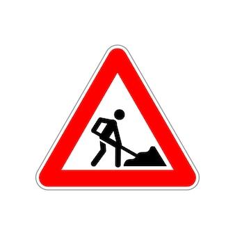 Icona dell'uomo al lavoro sul cartello stradale triangolo rosso e bianco su bianco