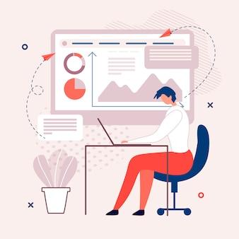 Lavoro dell'uomo che interagisce con grafici e grafici su pc