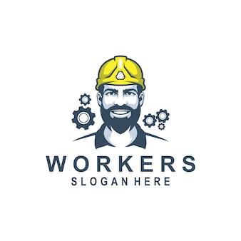 Uomo lavoratore logo design premium per bullding