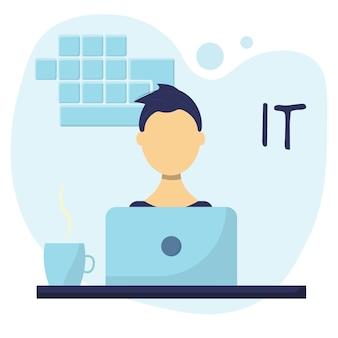 Un uomo che lavora come programmatore l'uomo lavora nella sfera it